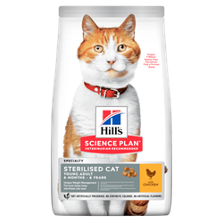 Hill's Science Plan Feline Young Adult Sterilised Cat KYLLING. Kattefoder til voksne. 10 kg