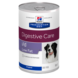 Hill's Prescription Diet Canine i/d LOW FAT. Hundefoder mod dårlig mave / skånekost med mindre fedtindhold. Vådfoder (dyrlæge diætfoder) 1 dåse med 360 g